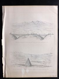 Baird 1857 Print. Monuments on Rio San Pedro & North of Santa Cruz. California